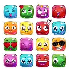Funny cartoon square jelly characters vector
