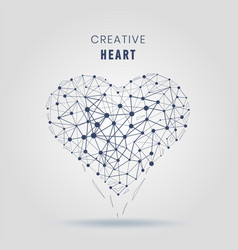 geometric heart molecular connections with lines vector image