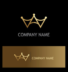Gold triangle crown logo vector