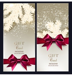 Greeting Christmas cards with bows and copy space vector