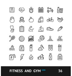 gym sign black thin line icon set vector image