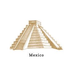 hand sketched aztec pyramid vector image