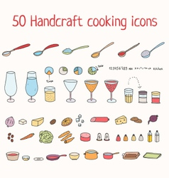 Handcraft cooking icons set vector