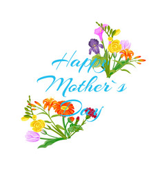 happy mothers day with flowers bouquet with peopy vector image