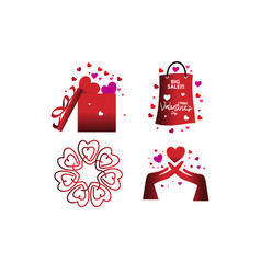happy valentines day template set vector image