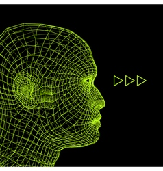 Head of the Person from a 3d Grid Human Head Wire vector
