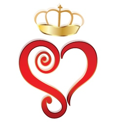 Heart and crown logo vector