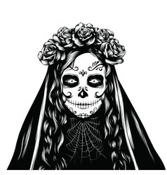 Holiday of santa muerte for halloween vector