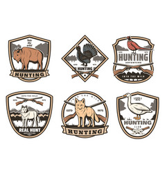 icons for hunting club open season vector image