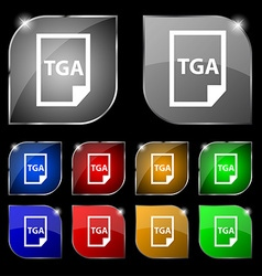 Image File type Format TGA icon sign Set of ten vector
