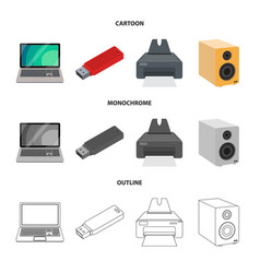 Isolated object laptop and device symbol set vector