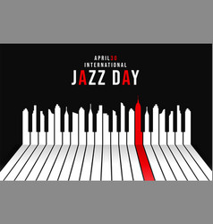 Jazz day poster of piano keys as city skyline vector