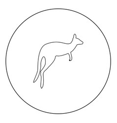 kangaroo icon black color in circle vector image