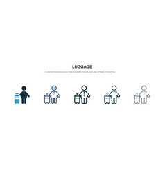 Luggage icon in different style two colored and vector