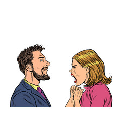 Man and woman dispute emotions scream vector