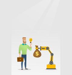 Man selling idea of engineering of robotic hand vector