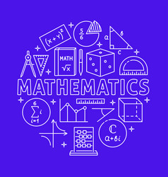 mathematics round concept poster in line style vector image