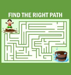 Maze games find the dirty boy way to bathtub vector