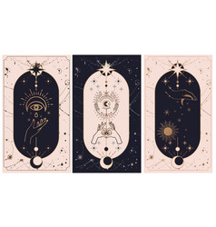Moon and sun tarot cards hands set in simple flat vector