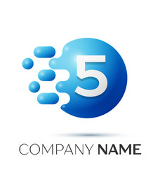 Number five splash logo blue dots and bubbles vector