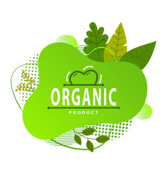 organic product concept green logo leaves and vector image