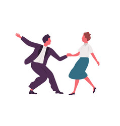 pair holding hands and dancing lindy hop dance vector image
