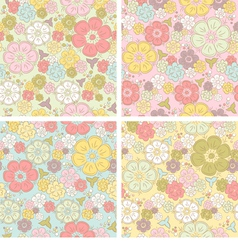 Pastel seamless floral pattern vector image