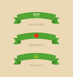 Ribbon with flag of saudi arabia bangladesh and vector