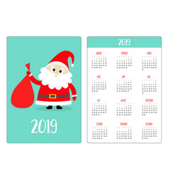 Santa claus and gift bag red hat pocket calendar vector