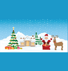 santa claus with snowy christmas landscape vector image