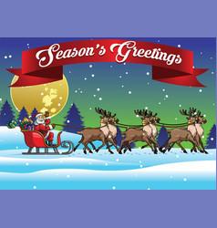santa ride sleigh with his reindeers vector image