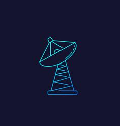 Satellite dish big antenna linear icon vector