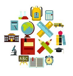 school icons set flat ctyle vector image