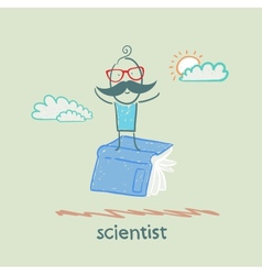 scientist is flying on a book vector image