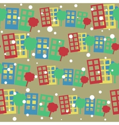 seamless pattern with cartoon town vector image