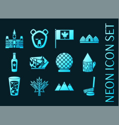 set canada blue glowing neon icons vector image