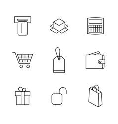 set finance and shopping icons vector image