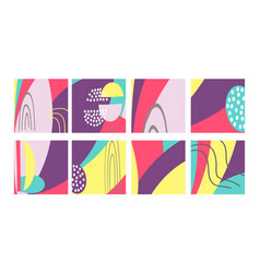set fun hand drawn colorful shapes doodle vector image