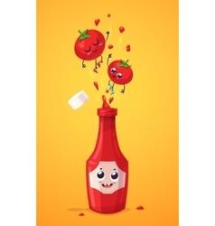 set ketchup characters cute cartoons vector image