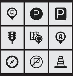 set of 9 editable direction icons includes vector image
