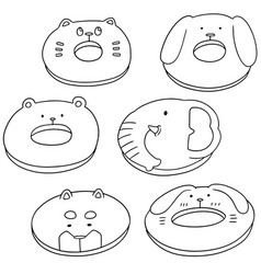 Set of animal donut vector