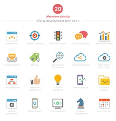 Set of Full Color SEO and Development icons Set 1 vector image