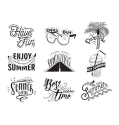 set of hand drawn lettering with vector image