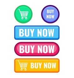 Set of web push buttons buy now cart icon vector