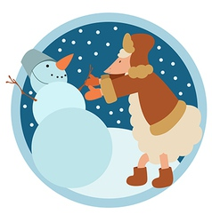 Sheep and snowman vector