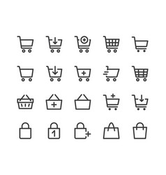 shopping cart line icon minimal vector image