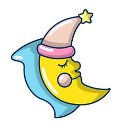 Sleeping moon icon cartoon style vector