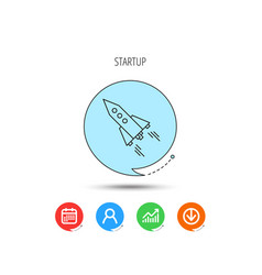 startup business icon rocket sign vector image
