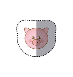 sticker colorful picture face cute pig animal vector image