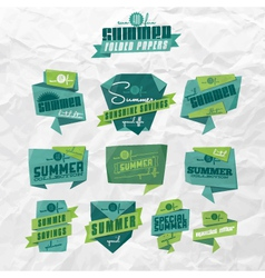 Summer origami labels vector image